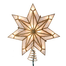 This 9.06-in UL 10-Light 7-Point Capiz Gold Star Treetop from Kurt Adler is a unique way to accent the lighting on your Christmas tree. Gold in color and embellished with gold glitter, this beautiful treetop has clear bulbs that illuminate the natural capiz material. It boasts 10 clear incandescent bulbs, a 30-in lead wire and includes 4 spare bulbs and 2 spare fuses. This is a perfect addition to any holiday decor.