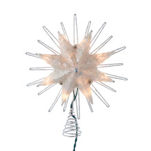 This 9.5-in UL 10-Light 8-Point Capiz Silver Star Treetop from Kurt Adler is a unique way to accent the lighting on your Christmas tree. Silver in color and embellished with silver glitter, silver rays and a clear gemstone center, this beautiful treetop has clear bulbs that illuminate the natural capiz material. It boasts 10 clear incandescent bulbs, a 30-in lead wire and includes 4 spare bulbs and 2 spare fuses. This is a perfect addition to any holiday decor.