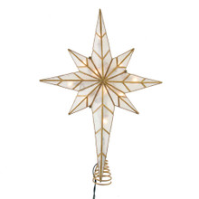 This 16.7-in UL 10-Light Bethlehem Star Treetop from Kurt Adler is a unique way to accent the lighting on your Christmas tree. With gold glitter tips and gold glitter embellishments, this beautiful treetop has clear bulbs that illuminate the natural capiz material. It boasts 10 clear incandescent bulbs, a 30-in lead wire and includes 4 spare bulbs and 2 spare fuses. This is a perfect addition to any holiday decor.