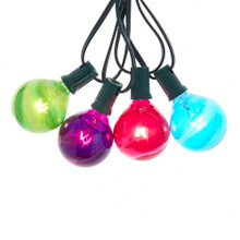 This 10-Light G50 Multi-Color Glass Ball Light Set from Kurt Adler is a classic and festive way to add to the lighting of your Christmas tree and holiday decoration. Each of the 10 lights in this light set features the traditional G50 bulb design in bright multi-colors including red, green, blue, and purple. The set boasts 10 multi-color incandescent bulbs, 30-in lead wire, 12-in light spacing and a 4-in end connector which can connect up to 3 sets!