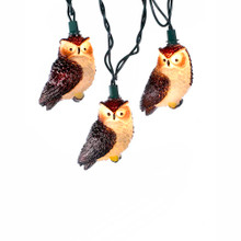 """This Kurt Adler 10-Light Brown Owl Light Set is a great way to add a touch of nature to your holiday or theme party decoration! Each light in this indoor/outdoor set features a brown horned owl with glowing eyes. Each set has a 30"""" lead wire, 12"""" spacing, green wire, 12V 0.08A incandescent bulbs with 4 spares, and one spare fuse."""