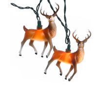 """Add to your holiday or party lighting decoration with this 10-light 4.5"""" plastic reindeer light set by Kurt Adler! Each of the 10 festive light covers in this set features an adorable reindeer design. Each set has a 30"""" green lead wire, 12"""" spacing, and uses 12V 0.08A clear incandescent bulbs. For both indoor and outdoor use."""