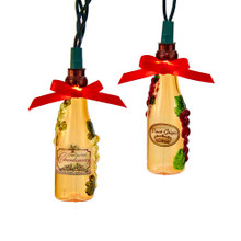 Bring the holidays to Tuscany with this set of 10 wine bottle lights from Kurt Adler! Each of the 10 light covers in this set resembles a bottle of wine complete with grape vine detailing and topped with a red bow for a festive touch.