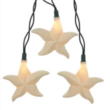 """Add to your lighting and decoration with this UL 10-Light Starfish Light Set from Kurt Adler. Perfect for adding a nautical touch to your decor, each light cover in this set features a beautiful textured starfish design. Each set has a 30"""" green lead wire, 12"""" spacing, and 12V 0.08A clear incandescent bulbs. For both indoor and outdoor use."""