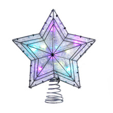 "Add the finishing touch to your Christmas tree with this UL 10-Light LED Color-Changing Star Treetop from Kurt Adler. Its 5-point star design is lit from within by 10 color-changing LED lights for a fun, festive glow. Each tree top has 60"" x 3"" wire spacing, 2 spare bulbs, and 1 fuse. For indoor use only."
