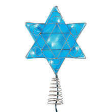 Celebrate the holidays with this 10-Light LED Silver and Blue Hanukkah Star Shimmer Treetop from Kurt Adler. Perfect for celebrating Hanukkah in interfaith families, this plastic blue shimmer star is accented in a silver trim and is pre-lit with 10 UL-approved lights.