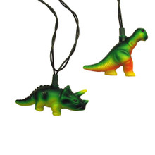 Add to your holiday or party lighting and decoration with this 10-Light T-Rex and Styracosaurus Light Set from Kurt Adler! Each light cover in this set is modeled after either a T-Rex or a Styracosaurus, perfect for kids' dinosaur-themed parties. Each set has a 30-in green lead wire, 12-in light spacing, 4 spare bulbs, and 1 fuse. For both indoor and outdoor use.