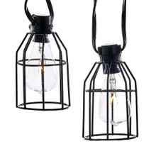 Add to your holiday, home, or party lighting and decoration with this UL 10-Light C7 Cage Lantern Light Set from Kurt Adler. Each of the 10 C7 bulbs in this set has a trendy, industrial caged look. Each set has black wire to match the black cages, clear C7 bulbs, 30-in lead wire, 12-in light spacing, and a 6-in end connector. 4 spare bulbs and 1 fuse are included.