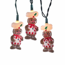 Add to your holiday lighting and decoration with this UL 10-Light Gingerbread Light Set from Kurt Adler. Each of the ten light covers in this set is an adorable, smiling gingerbread chef, complete with a chef's hat and an apron! Each set has a 30-in lead wire and 12-in light spacing, and includes 4 spare bulbs and 1 fuse. For both indoor and outdoor use.