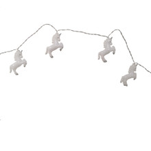 Add some magical touches to any holiday or theme party decoration with this 10-Light Plastic Iridescent White Unicorn Light Set by Kurt Adler. With fun, transparent unicorns covering on each light, this legendary creature set is sure to brighten up any decoration. Perfect for magical theme parties or backyard barbeques.