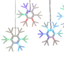 Add to the lighting of your holiday or winter party decoration with this Snowflake Icicle Fairy Lights with RGB LED Lights by Kurt Adler! Each of the 5-light covers in this novelty light set features a beautiful snowflake design with 6 multi Colored RGB LED lights each. RGB chips allow for a variety of color combinations by mixing the intensities of three primary colors: red, green, and blue. This light set is sure to add a festive glow to any holiday decoration.