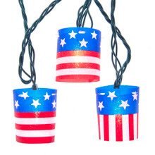 This UL 10-Light American Flag Tube Light Set from Kurt Adler is a great way to show off your American pride. Each of the 10 lights feature a tube shaped design with a red, white and blue U.S.A. flag. The set boasts 10 clear incandescent bulbs, a 30-in lead wire, 12-in light spacing and a 6-in tail wire and end connector. It is great for fourth of July BBQs or any time you want to wave the flag high!