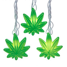 This UL 10-Light Opaque Cannabis Light Set from Kurt Adler is a unique addition to your holiday decoration or Christmas tree. This light set includes 10 opaque cannabis leaves, each with a clear incandescent bulb. It also boasts a 30-in lead wire, 12-in light spacing and a 6-in tail wire and end connector.