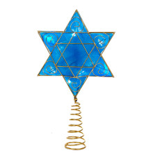 "This 13"" B/O Hanukkah Tree Topper with 8 LED Lights by Kurt Adler is a beautiful finishing touch to any holiday tree, perfect for interfaith families celebrating the spirit of both Christmas and Hanukkah. Its blue Star of David design is trimmed in gold, and is illuminated from within by LED lights. B/O, this treetop uses 2 ""AA"" batteries (not included). As seen on ABC's television series ""Shark Tank""!"