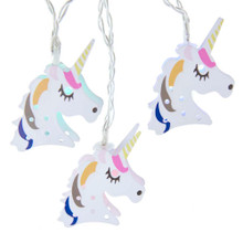 "This B/O 10-Light USB Metal Unicorn Light Set from Kurt Adler is a great addition to your lighting collection. This set includes 10 unicorns with multi-color (red, green, blue and yellow) LED lights and a timer function. This set is powered by USB, has a 12-in lead wire and a 19.68-in USB lead wire and 6-in light spacing. The set uses 3 ""AA"" batteries which are not included and has an automatic timer function of 6 hours on and 18 hours off."