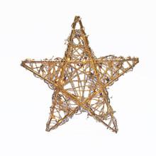 Kurt Adler 20-Light Gold Rattan Christmas Treetop Star