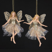 Kurt Adler Glittered Platinum Fairy Ornament - 2 Assorted #C7263