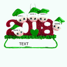 Rudolph & Me 2018 Family of 5 Personalized Ornament #1403-5