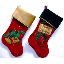 Velvet Bells or Merry Christmas Stocking, 2 Assorted