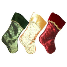 Red, Green and Gold Stockings with Glitter Swirl Designs, 3 Assorted