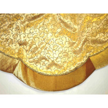 Gold Tree Skirt with Glitter Swirl Design