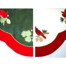 White or Green Cardinal Design Tree Skirt, 2 Assorted