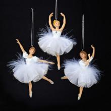 Kurt Adler 6in White/Silver Ballet Ornament, 3 Assorted #C8545