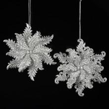 Kurt Adler Acrylic Silver Glitter Snowflake Ornament, 2 Assorted #T1000S