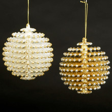 Kurt Adler Gold & Silver Pinecone Ball Ornament #W20255