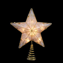 Kurt Adler UL 10-Light Gold Reflector Star Tree Topper #UL1881