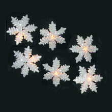 Kurt Adler UL 10-Light White Snowflake Party Light Set #UL0894