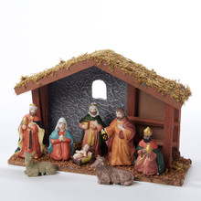 Kurt Adler 11in Wooden Nativity Set, 9-Piece #N1000
