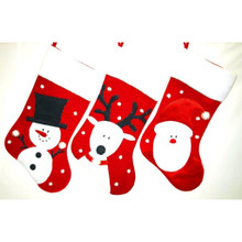 Santa, Snowman or Reindeer Stocking, 3 Assorted