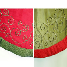 56in Red or Green Silk Tree Skirt with Glitter Rope Swirl, 2 Assorted