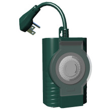 Outdoor 24hr Mechanical timer with 2 grounded outlets -Green