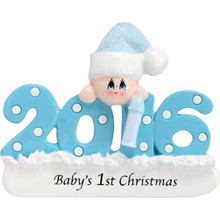Rudolph & Me 2018 Baby-Blue Personalized Ornament #1421B