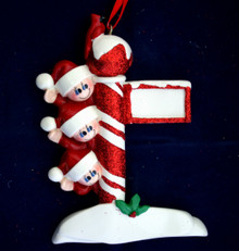 Rudolph & Me Street Post Family of 3 Personalized Ornament #909-3