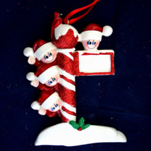 Rudolph & Me Street Post Family of 4 Personalized Ornament #909-4