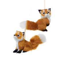 Kurt Adler Plush Fox Ornament, 2 Assorted #C4670