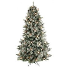 7.5ft Frosted Jade Mountain Tree with Clear Lights #MTX46922B