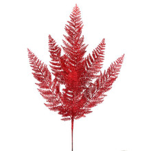 24in Red Glitter Lace Fern Spray #MTX52310