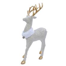 Kurt Adler Champagne & Gold Glitter Deer with White Fur Collar #H2783