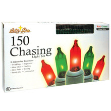 150 Chasing Lights Straight Line Set in Red & Green, Green Wire