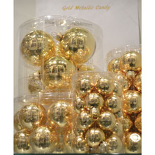 Solid Glass Ball Ornament in Gold Metallic Candy, 6-Pack