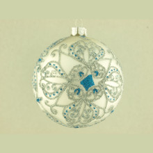 White with Blue & Silver Decorative Glass Ball Ornament, 4-Pack