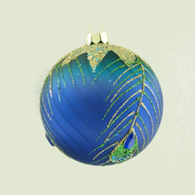 Blue & Teal Glass Ball Ornament with Peacock Feather, 4-Pack