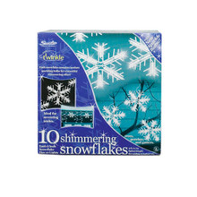 10 Piece Shimmering Snowflakes Light Set in Clear