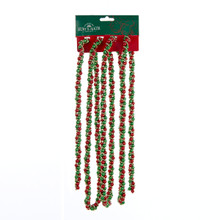 Kurt Adler 9ft Red, Green & Gold Beads Twisted Garland #H9490RGGO