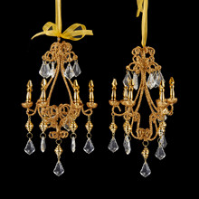 Kurt Adler 8in Metal Gold Chandelier Ornament, 2 Assorted #D1814