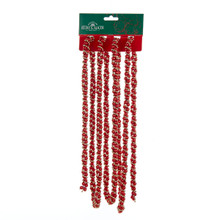 Kurt Adler 9ft Red & Gold Beads Twisted Garland #H9490RGO